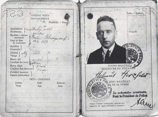 escape from nazis Heartfield's Czech Travel Papers, 1938