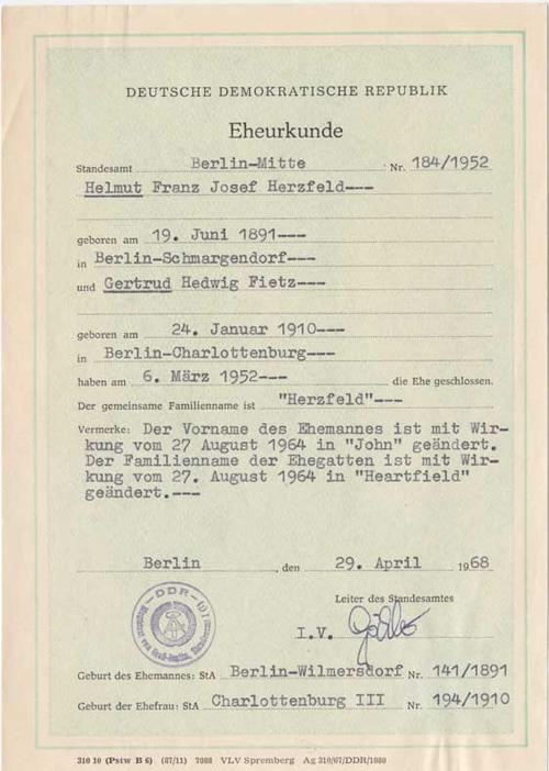 Who Is Heartfield the East German Herzfeld name change document 1968