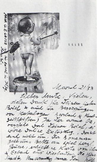 1958 postcard george grosz to john heartfield