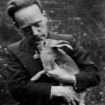 John Heartfield with pet rabbit, England