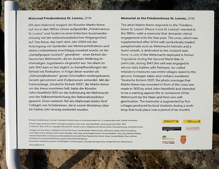 Plaque For The Mahnmal Friedenskreuz (Peace Cross) Installation