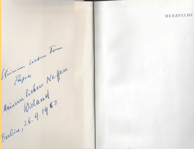 John Heartfield & Wieland Herzfelde Book Inscription 1962