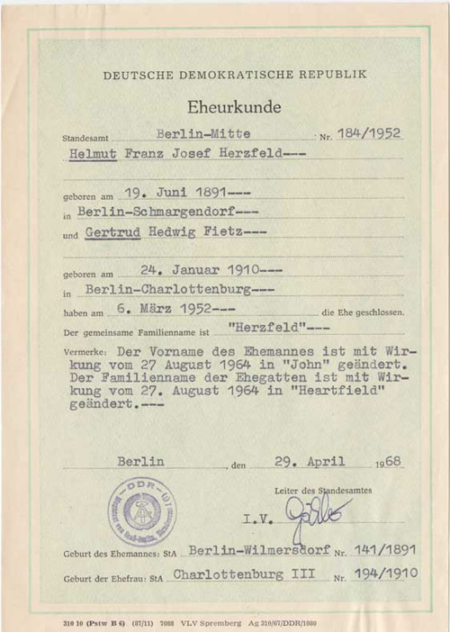 heartfield european exhibitions after Heartfield Marriage Certificate, 1968