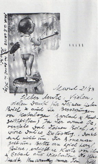 1958 postcard george grosz to john heartfield