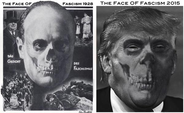 <em>The Face Of Fascism, 2015</em><br />One Hand Art<br />John J Heartfield