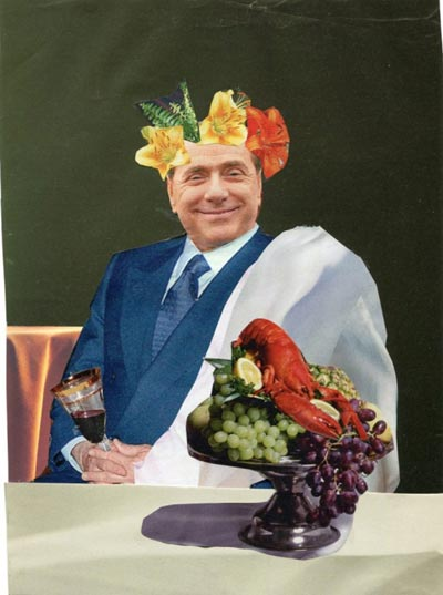 Berlusconi drinking wine