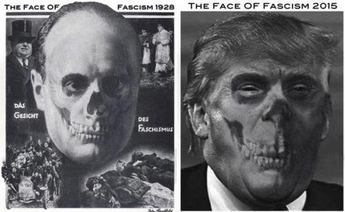 <em>The Face Of Fascism, 2015</em><br />One Hand Art<br />John J Heartfield