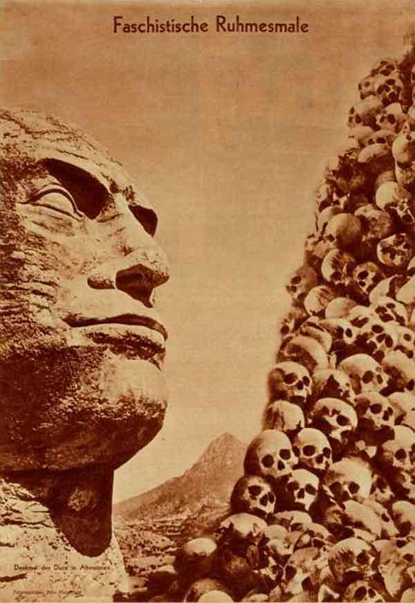 Fascist Monument (Faschistiche Ruhmesmale) antifascist art antiwar masterpiece john heartfield photomontage collage