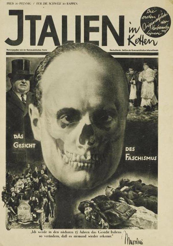 face of fascism mussolini fascist face heartfield 1928
