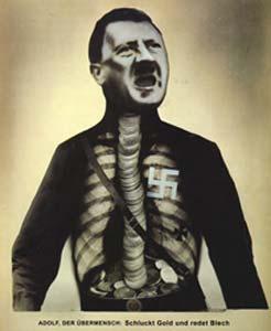adolf hitler portrait. ww2 collage art heartfield photomontage mocking Adolf Hitler
