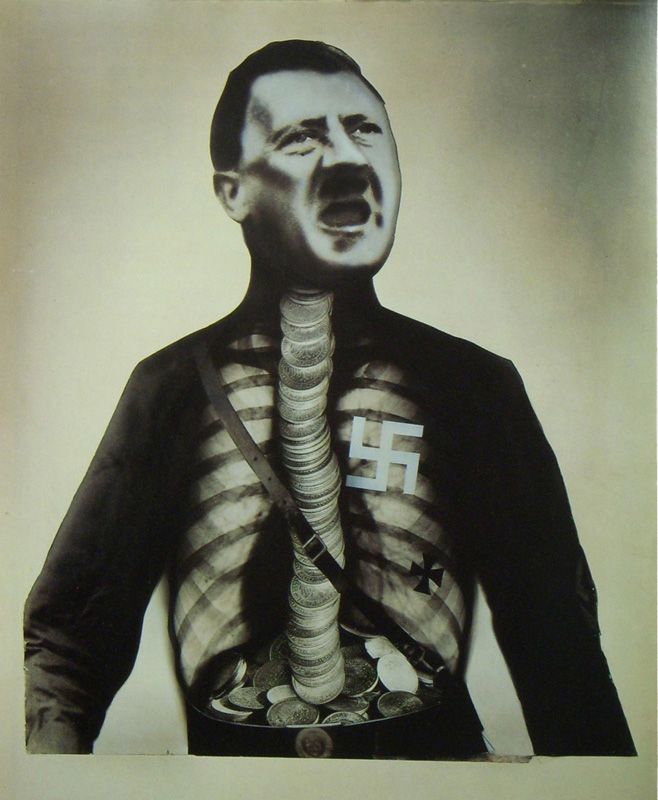 john heartfield political antiwar collage Adolf Hitler The Superman: Swallows Gold And Spouts Junk