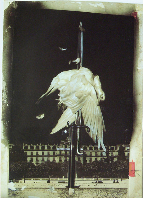 heartfield anti-war collage dove on bayonet