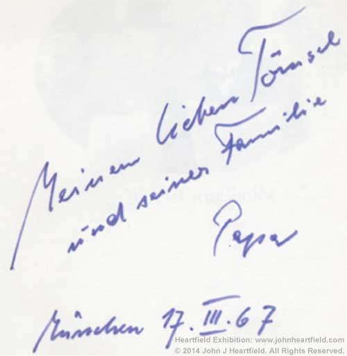John Heartfield Book Inscription 1967