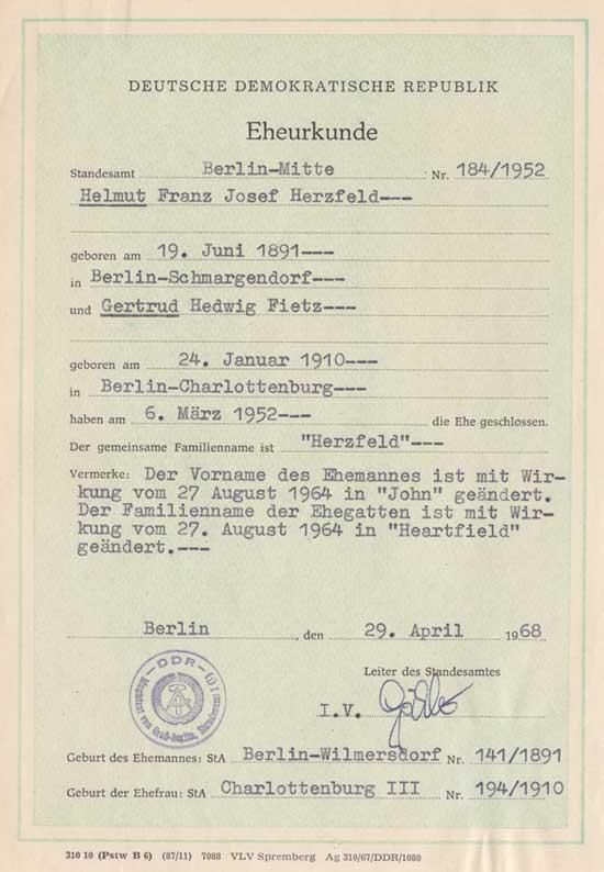 John Heartfield name change document