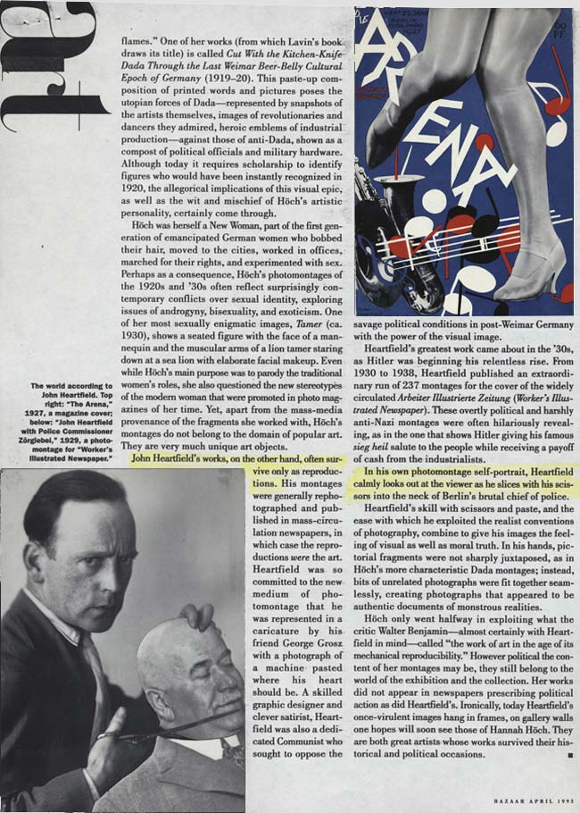 First Dada Fair Höch Heartfield Schwitters Grosz Hausman