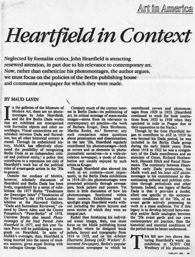 Art In America Heartfield In Context Maud Lavin