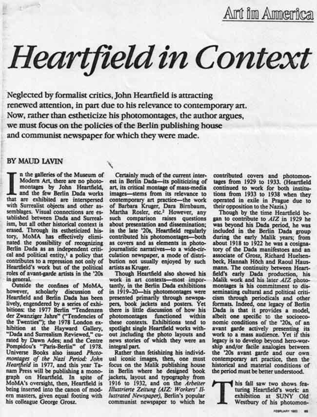Art In America Heartfield In Context Maud Lavin