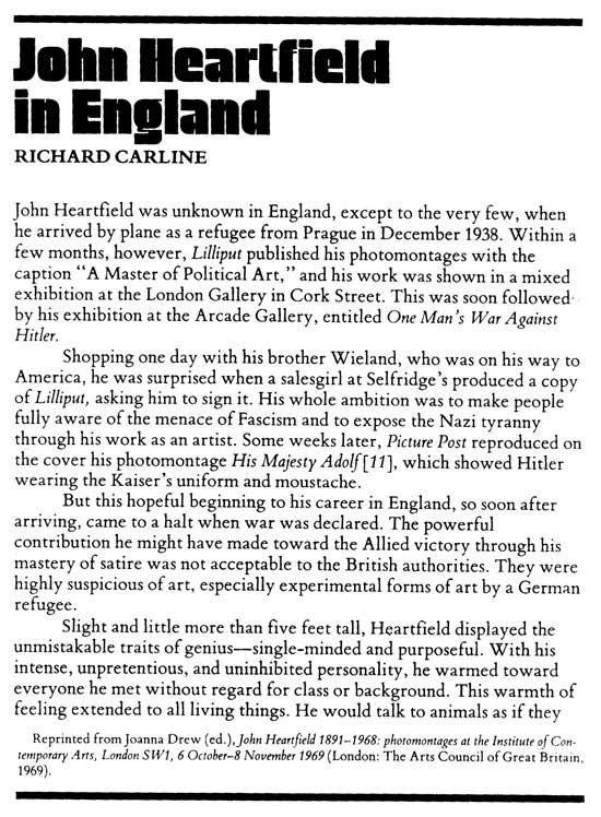 John Heartfield England Years by Richard Carline